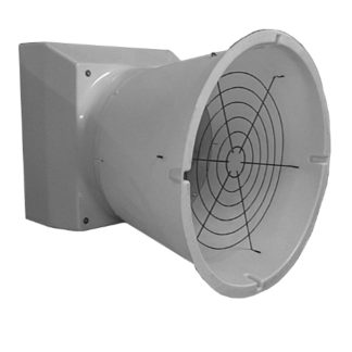 "14""  WHITE DIRECT DRIVE FIBERGLASS TURBO FAN WITH CONE & PLASTIC SHUTTER"