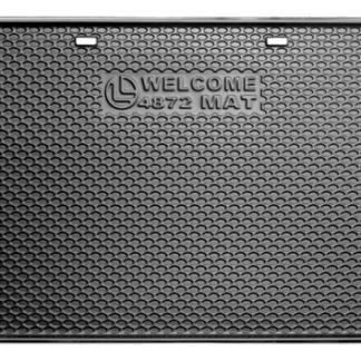 BLACK PLASTIC WELCOME MAT 4 FT X 6 FT WITH HANDLES
