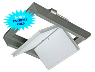 "DOUBLE-SIDED GRAVITY CEILING INLET COUNTERWEIGHTED<br>18.5"" X 21.5"" FRAMED OPENING<br>1300 cfm @ .05SP"