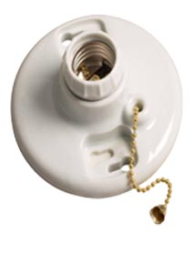 PORCELAIN KEYLESS LIGHT FIXTURE WITH PULL CHAIN