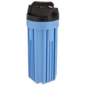 "BLUE CANISTER FILTER HOUSING WITH SHUTOFF 3/4"" INLET/OUTLET"