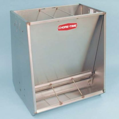 """STAINLESS HOG FEEDER FINISHER DOUBLE 6-HOLE 6"""" X 34"""" X 70"""""""