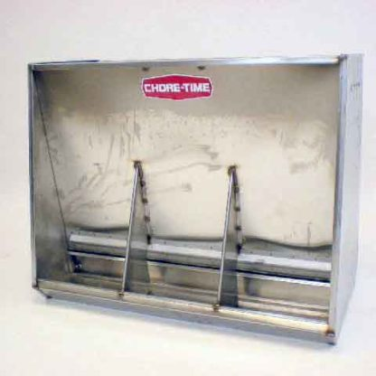 """STAINLESS HOG FEEDER WEAN-FINISH DOUBLE 3-HOLE 34"""" X 42"""""""