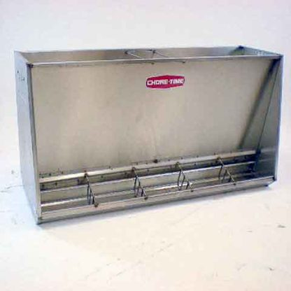 "STAINLESS HOG FEEDER WEAN-FINISH SINGLE 5-HOLE 50"" W/ U-GUARDS"